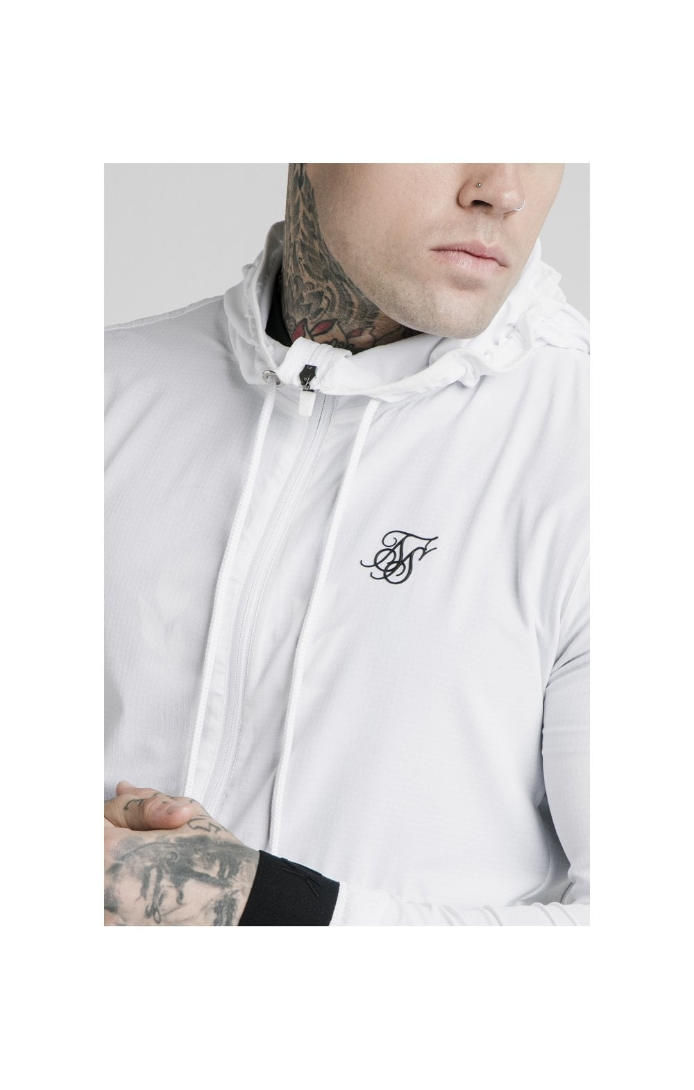 SikSilk Agility Poly Rib Zip Through Hoodie - White (1)