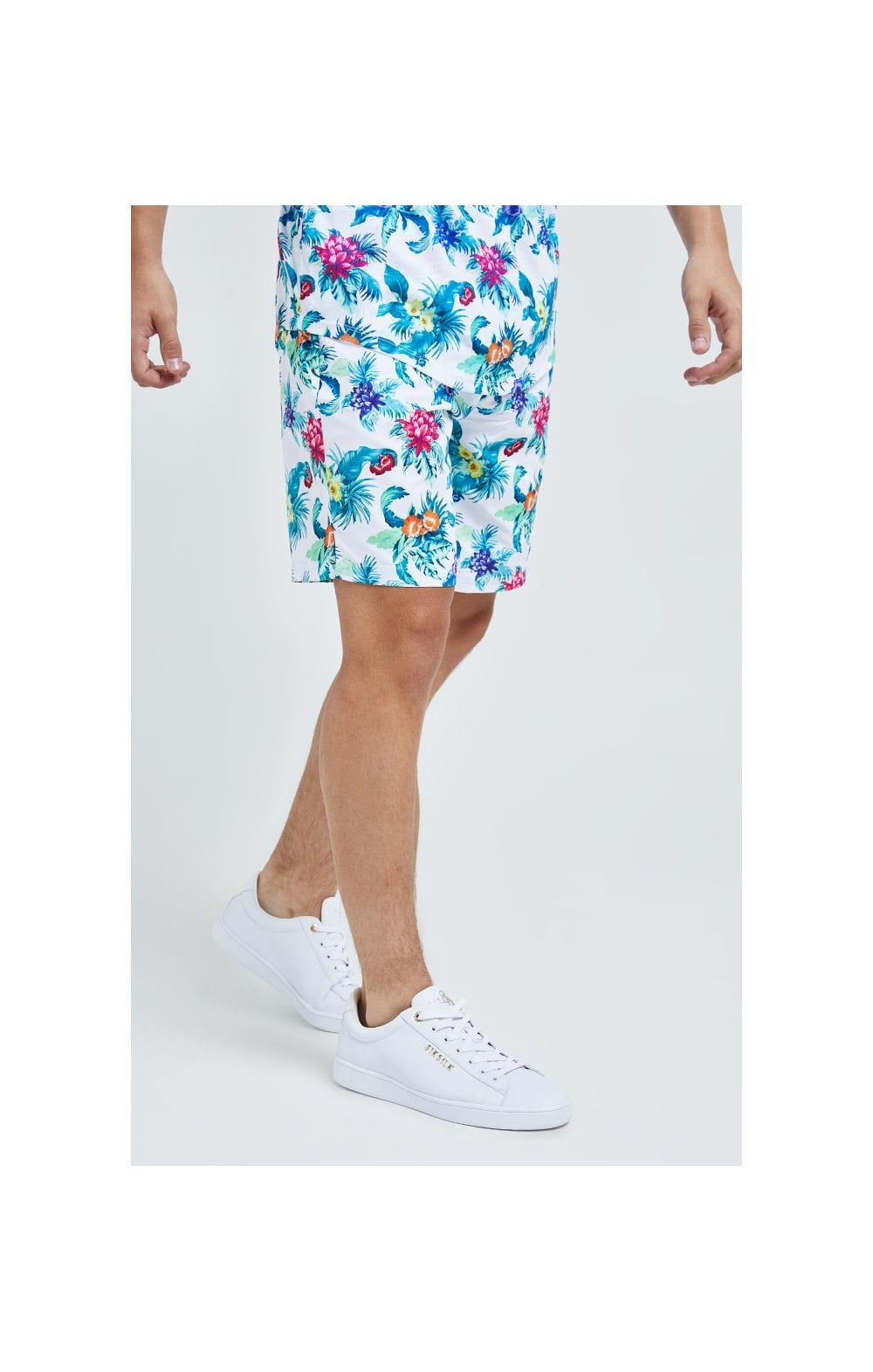 Illusive London Swim Shorts - White & Floral (2)