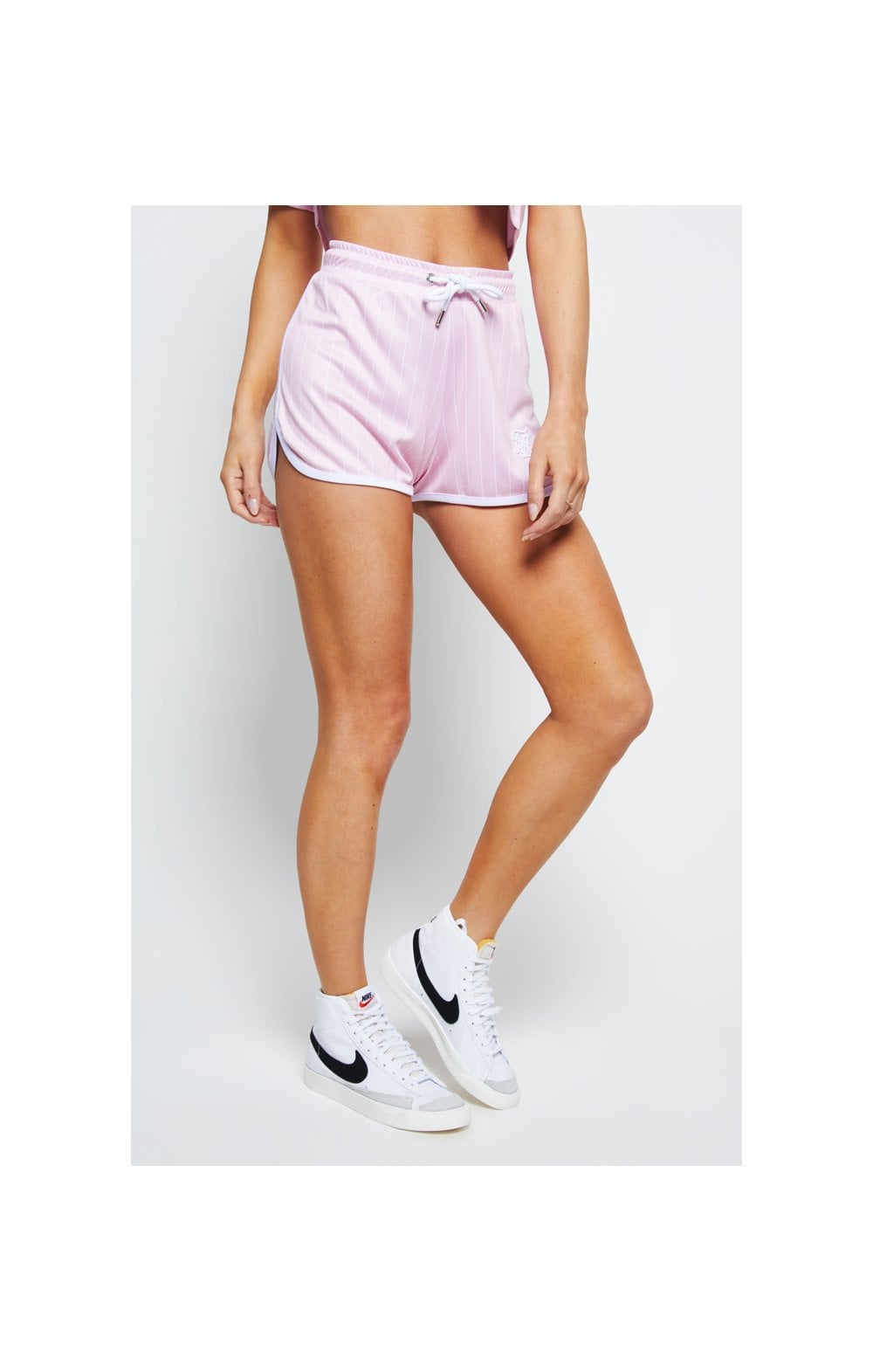 SikSilk Baseball Stripe Shorts – Pink & White