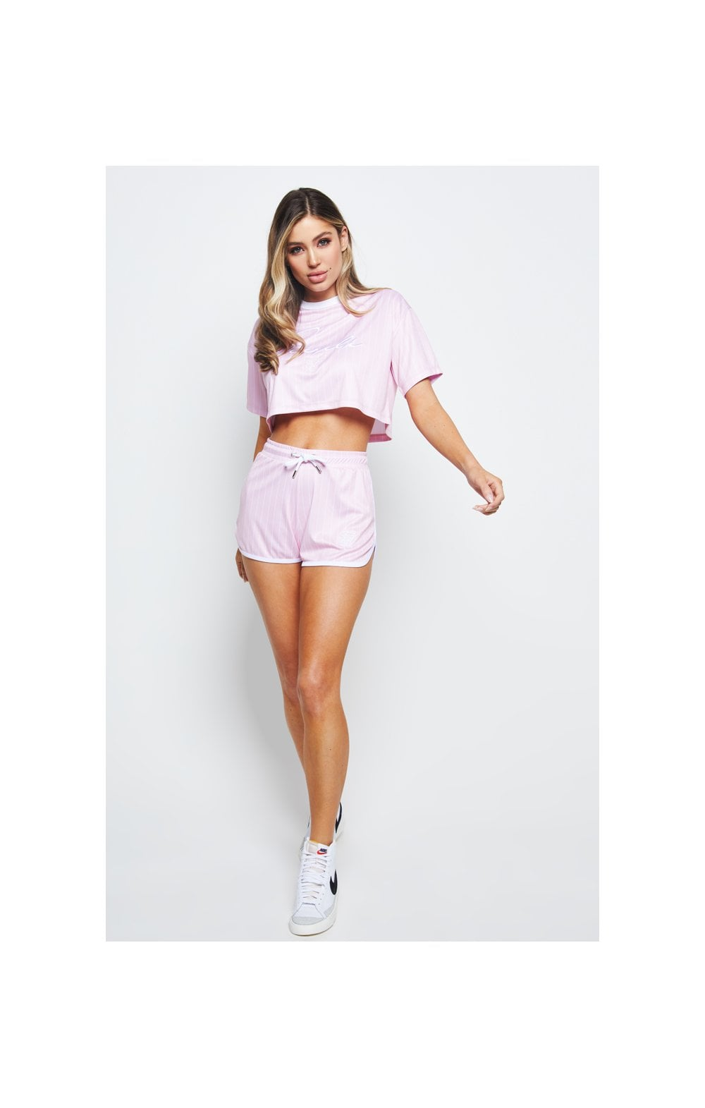 SikSilk Baseball Stripe Shorts – Pink & White (5)