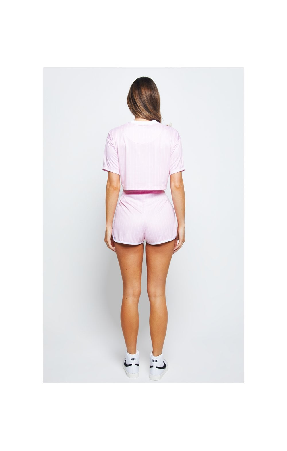 SikSilk Baseball Stripe Shorts – Pink & White (6)
