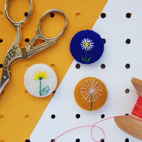 dandelion, dandelion clock and daisy embroidered badge set