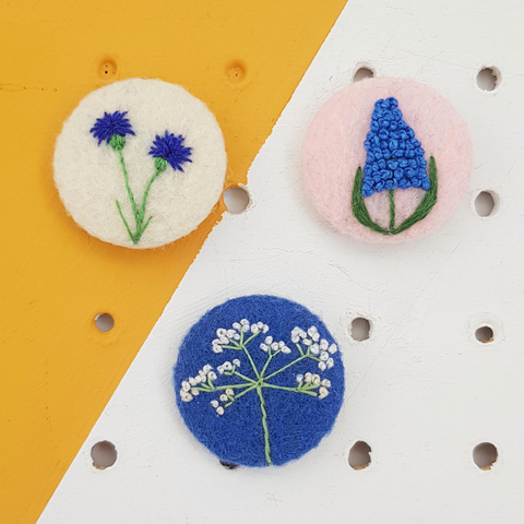 embroidered floral badges - cornflower, cow parsley and grape hyacinth