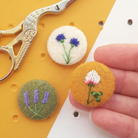 embroidered flower badge set - clover, cornflower and lavendar