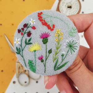 embroidered wild plants badge