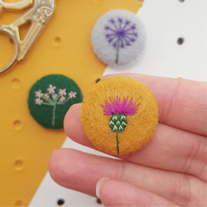 embroidered thistle badge - set with allium and rock jasmine