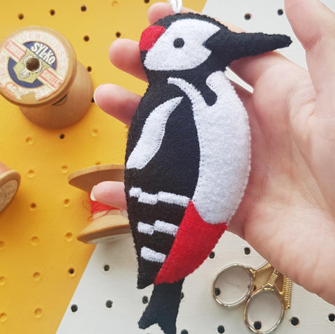 hanging felt woodpecker