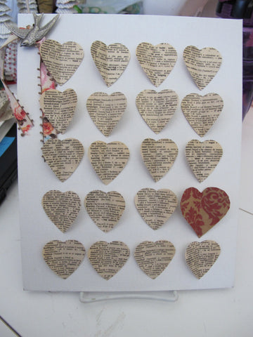 Valentine's Book Page Collage Wallhanging