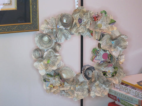 Upcycled Book Page Flowers Wreath Class