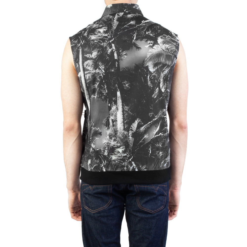 Load image into Gallery viewer, Versus Versace Men's Cotton Sleeveless Tropical Print Dress Shirt Black/White