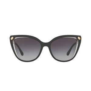 Load image into Gallery viewer, BVLGARI Asian Fit Cat-Eye Sunglasses Top Black Transparent Grey