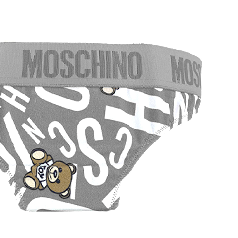 Load image into Gallery viewer, Moschino Underwear Women's All Over Teddy Logo Brief Grey