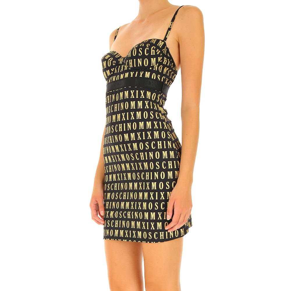 Load image into Gallery viewer, Moschino Underwear Women's All Over Logo Slip Dress Black