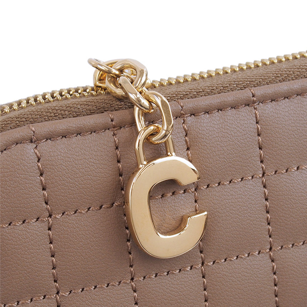 Load image into Gallery viewer, Celine Women's Continental Quilted Zipped Leather Wallet Brown