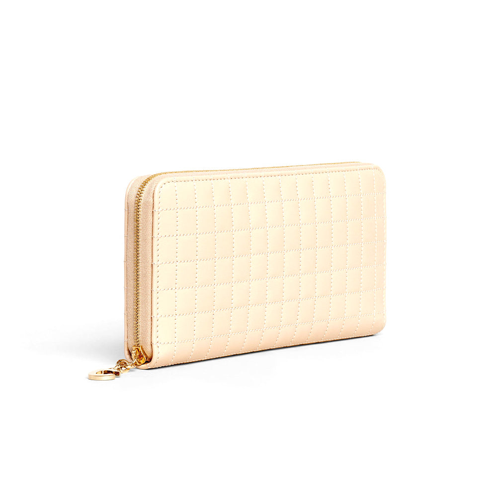 Load image into Gallery viewer, Celine Women's Continental Quilted Zipped Leather Wallet Nude