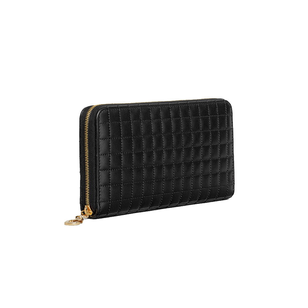Load image into Gallery viewer, Celine Women's Continental Quilted Zipped Leather Wallet Black