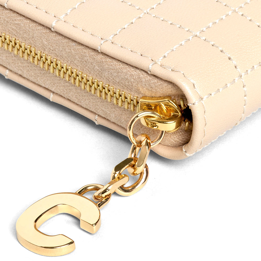 Load image into Gallery viewer, Celine Women's Compact Quilted Zipped Leather Wallet Nude