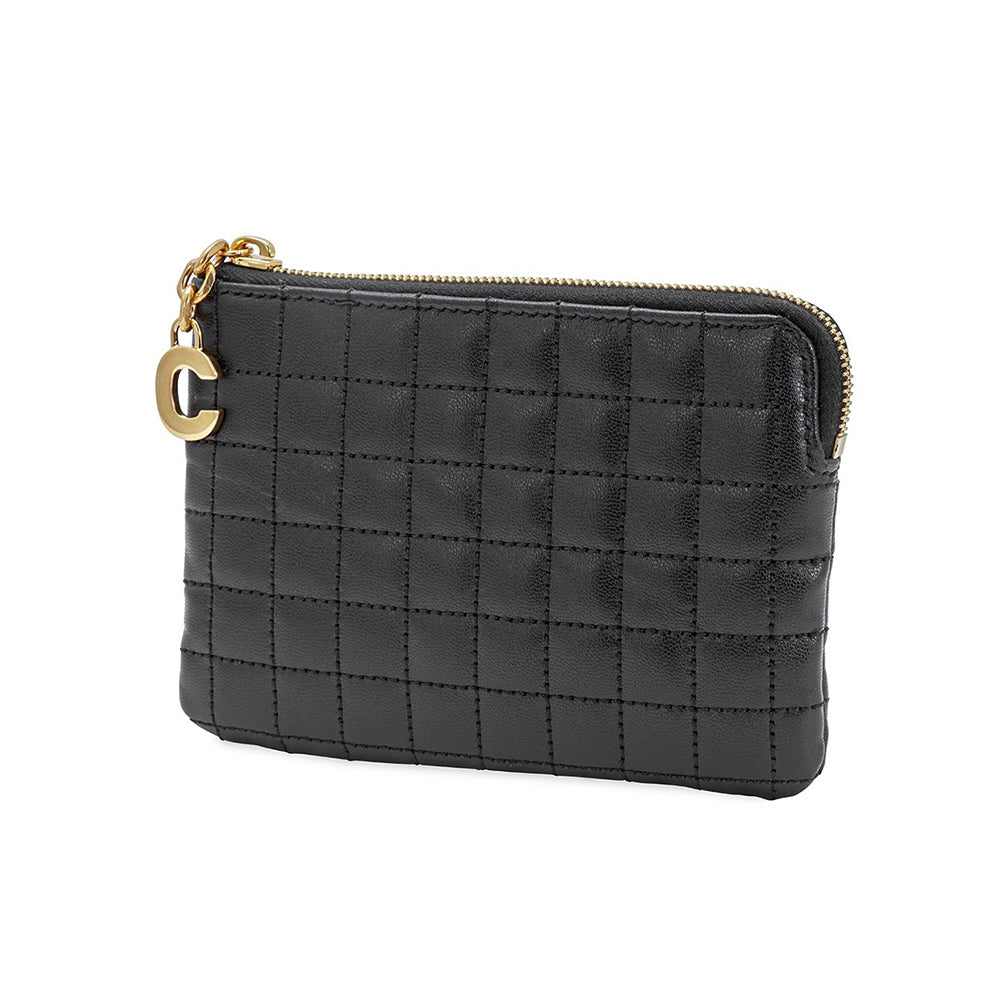 Load image into Gallery viewer, Celine Women's C Charm Quilted Leather Coin Pouch Black