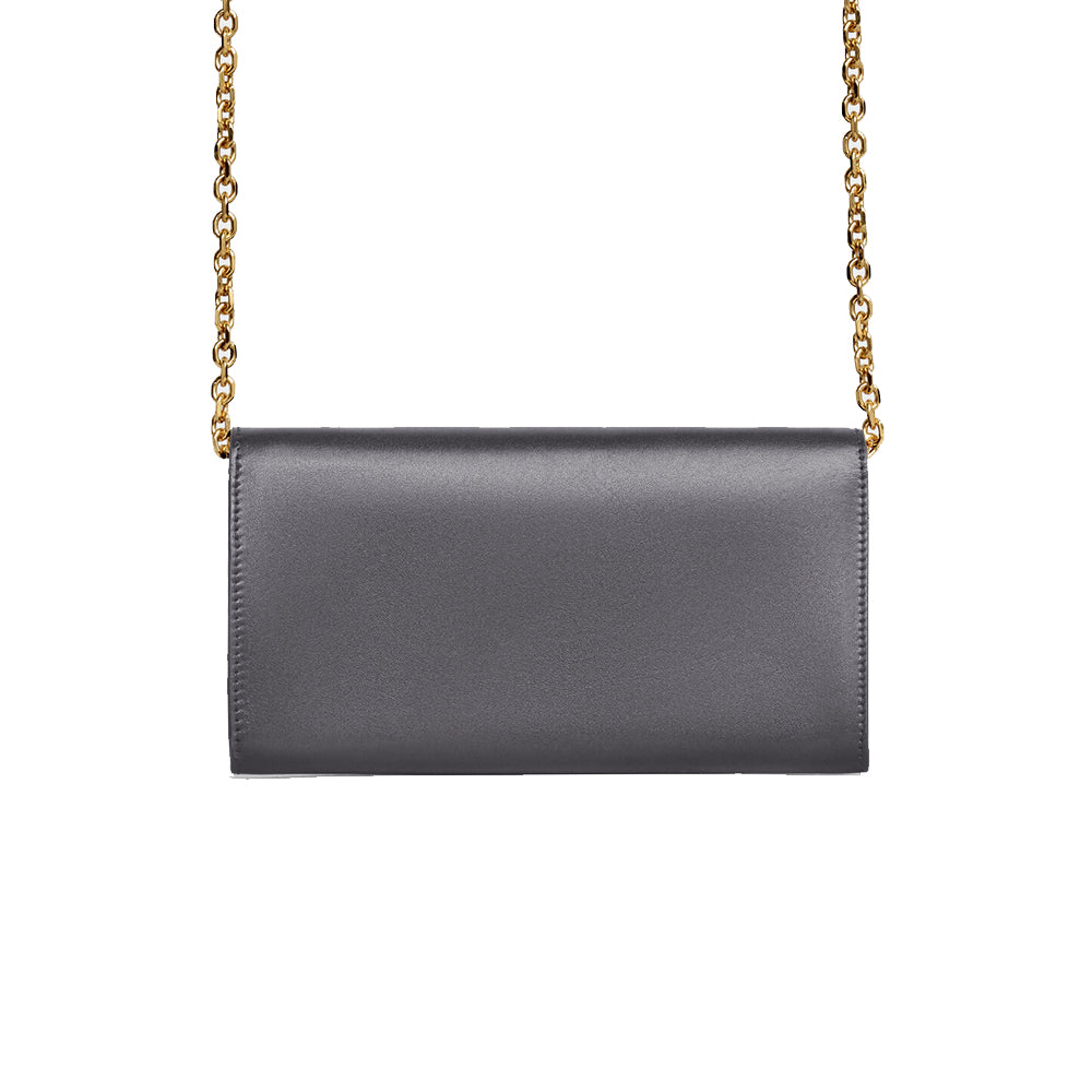 Load image into Gallery viewer, Celine Women's C Chain Leather Wallet Crossbody Handbag Grey