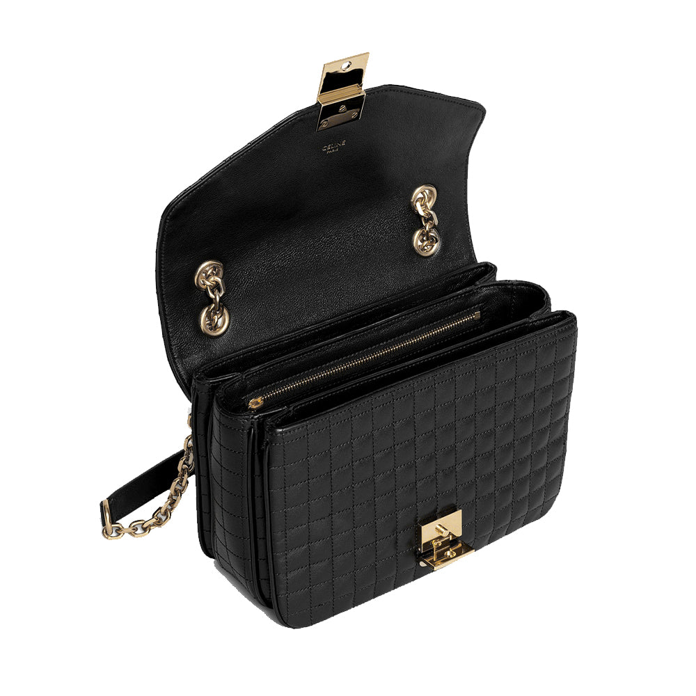 Load image into Gallery viewer, Celine Women's Medium C Logo Handbag In Quilted Calfskin Black