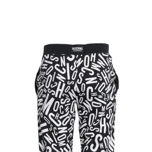 Load image into Gallery viewer, Moschino Underwear Women's All Over Logo Fleece Pants Black