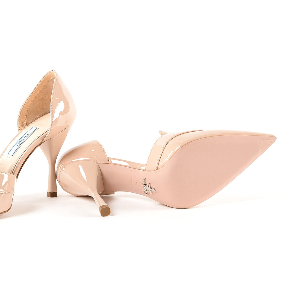 Load image into Gallery viewer, Prada Women's Patent Leather Vernice Pump Shoes Nude