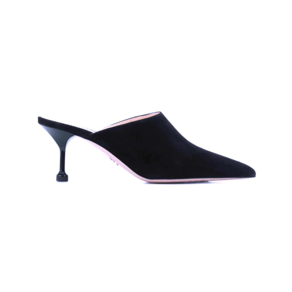 Load image into Gallery viewer, Prada Women's Suede Pointed Toe Heeled Mules Shoes Black