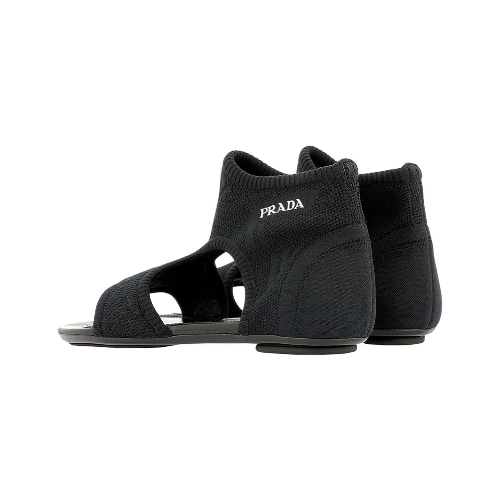 Load image into Gallery viewer, Prada Women's Stretch Sock Logo Sandals Shoes Black