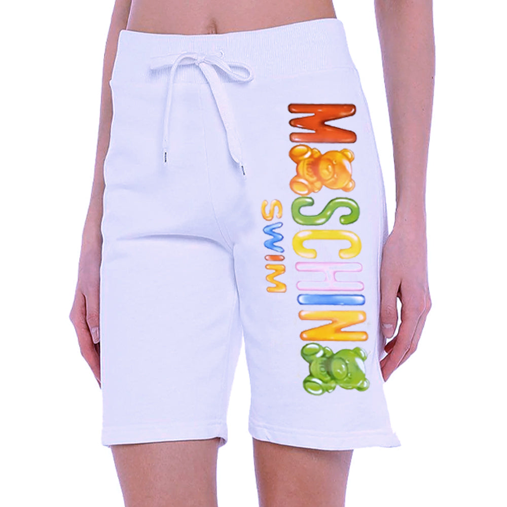 Load image into Gallery viewer, Moschino Swim Women's Gummy Logo Cotton Shorts White