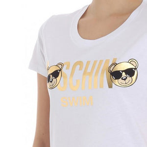 Load image into Gallery viewer, Moschino Women's Cotton Crew Neck Metallic Bear T-Shirt White