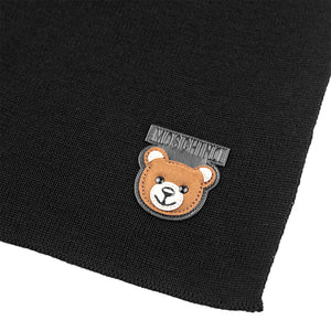 Load image into Gallery viewer, Moschino Wool Teddy Bear Patch Scarf Black