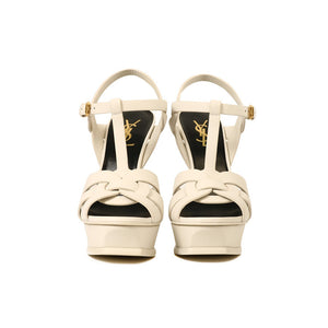 Load image into Gallery viewer, Saint Laurent Women's Leather Tribute 105 Sandal Cream