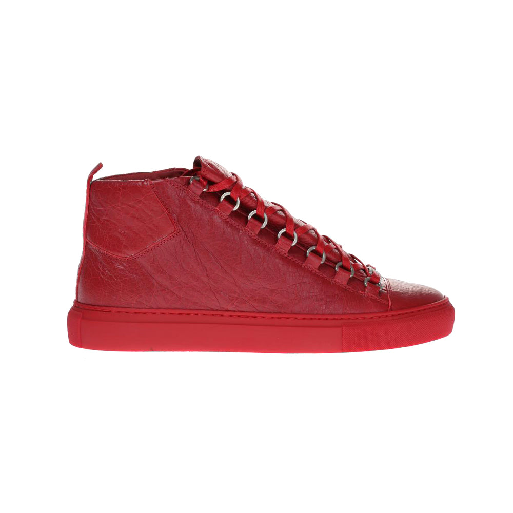 Load image into Gallery viewer, Balenciaga Men's Leather Arena Sneakers Grenade Red