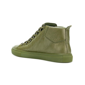 Load image into Gallery viewer, Balenciaga Men's Leather Arena Sneakers Green Kaki