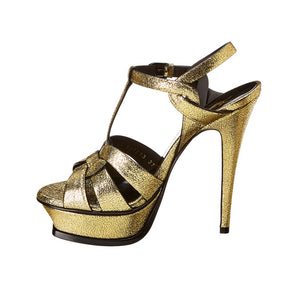 Load image into Gallery viewer, Saint Laurent Women's Metallic Leather Tribute 105 Sandals Gold