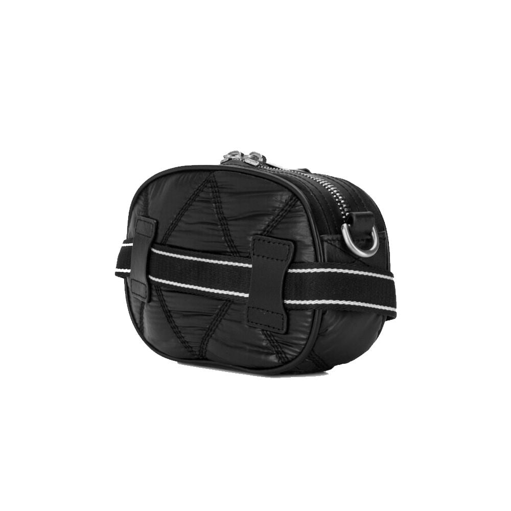 Load image into Gallery viewer, Moschino Couture Silver Logo Quilted Nylon Crossbody Bag Black