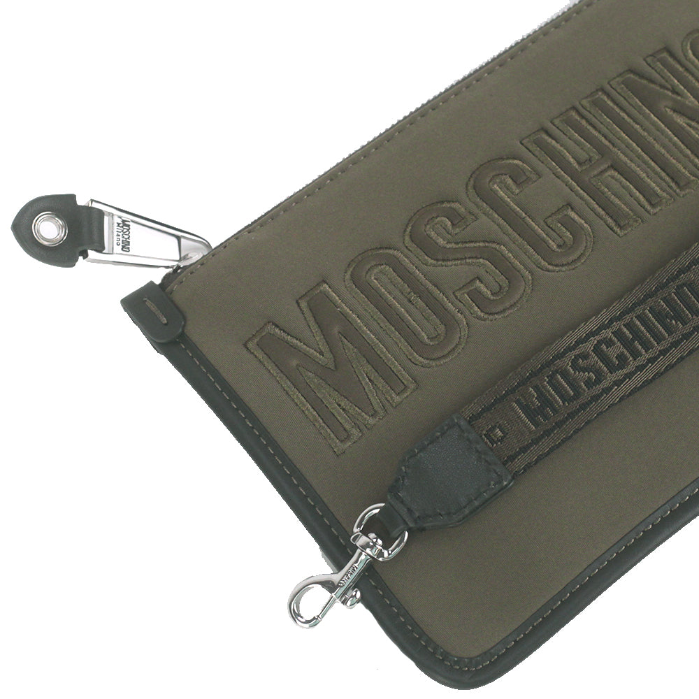Load image into Gallery viewer, Moschino Couture Cotton Classic Logo Zip Pouchette Green