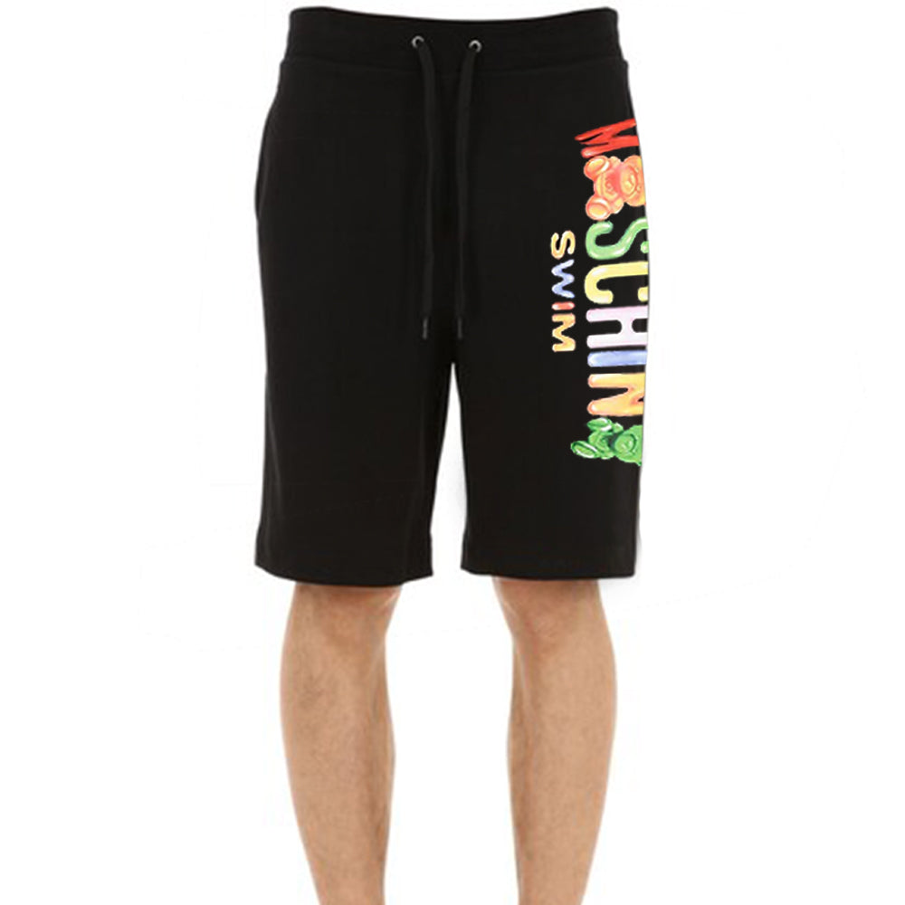 Moschino Swim Men's Gummy Logo Cotton Shorts Black