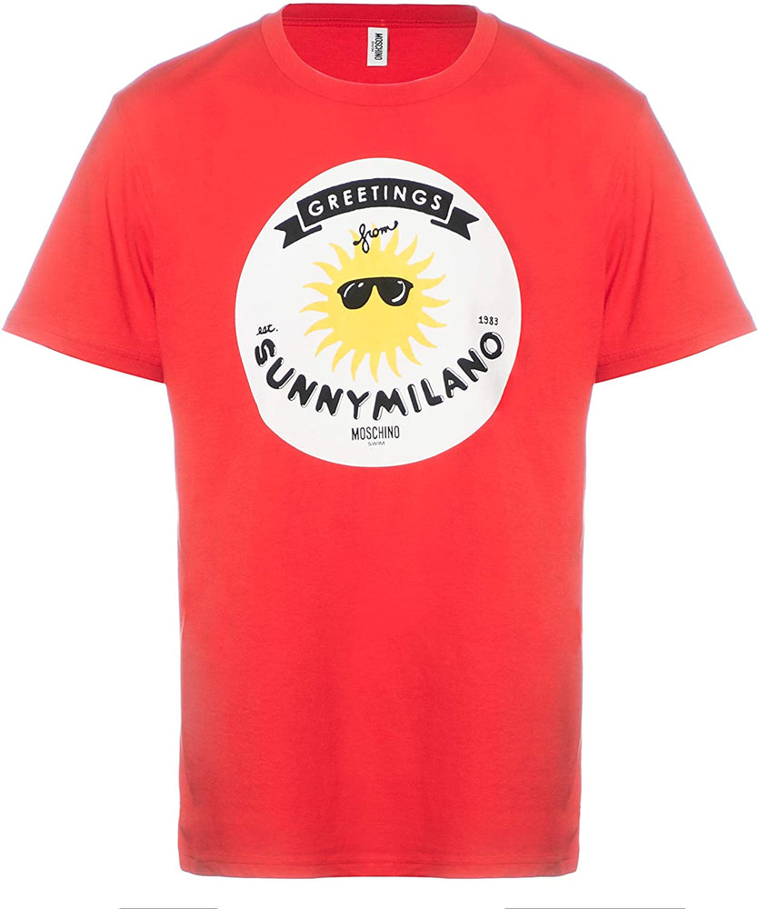 MOSCHINO Swim Men's Graphic T-Shirt Cotton Sunny Milano Red