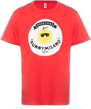 Load image into Gallery viewer, MOSCHINO Swim Men's Graphic T-Shirt Cotton Sunny Milano Red