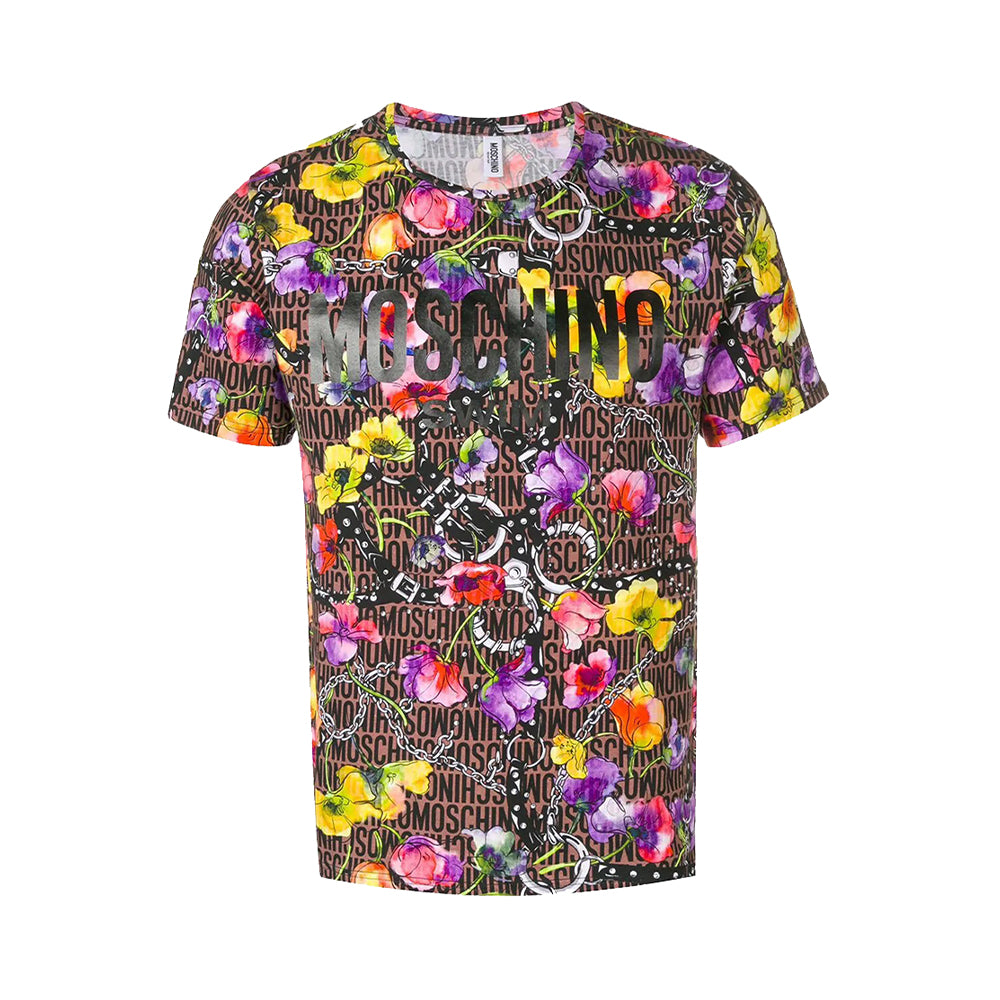 Moschino Swim Unisex Floral Allover Logo T-Shirt Brown Multi
