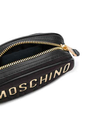 Load image into Gallery viewer, Moschino Couture Gold Logo Nylon Quilted Fanny Pack Black