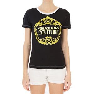 Load image into Gallery viewer, Versace Couture Women's Gold Baroque Logo Tee Shirt Black