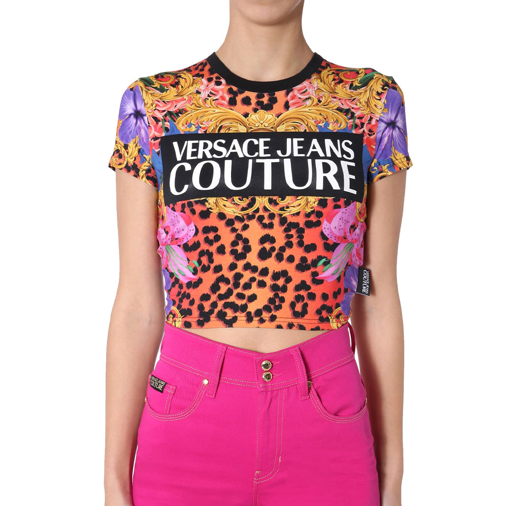 Load image into Gallery viewer, Versace Couture Women's Fantasia Baroque Logo Cropped Tee Shirt Pink