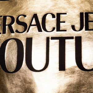 Load image into Gallery viewer, Versace Couture Women's Gold Foil Patch Logo Tee Shirt Black