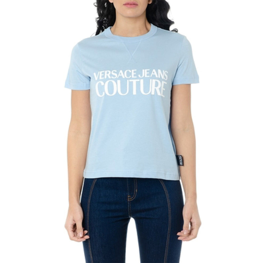 Load image into Gallery viewer, Versace Couture Women's Jersey Logo Tee Shirt Blue