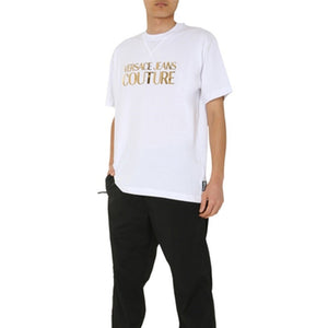 Load image into Gallery viewer, Versace Jeans Couture Men's Gold Foil Logo Shirt White
