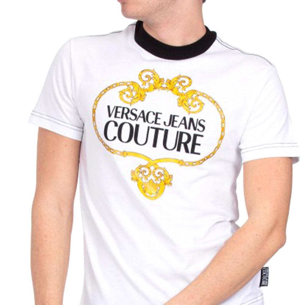 Load image into Gallery viewer, Versace Jeans Couture Men's Slim Baroque Stamp Logo Shirt White