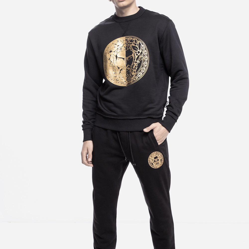 Load image into Gallery viewer, Versace Jeans Couture Men's Foil Head Logo Crewneck Sweater Black