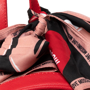 Load image into Gallery viewer, Love Moschino Faux Leather Scarf Knotted Backpack Red